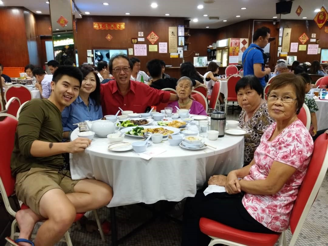 Dominique Wong (first from left) with his family members on a previous Valentine's Day dinner celebration. — Picture courtesy of Dominique Wong