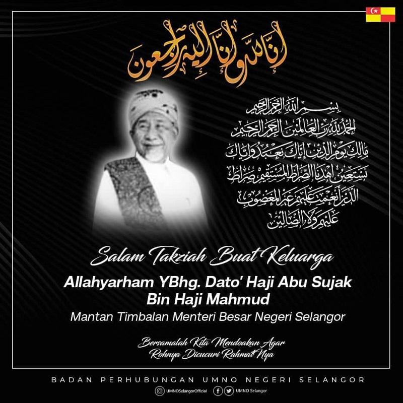Former Selangor Deputy Mentri Besar Datuk Abu Sujak Mahmud died of old age at his residence Shah Alam at about 6pm yesterday. ― Picture via Facebook/Umno Selangor
