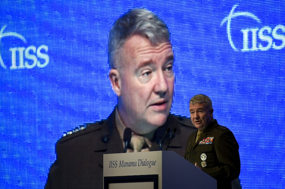In this file photo taken on November 23, 2019 General Kenneth F. McKenzie Jr, US Central Command (CENTCOM) Commander, addresses a session focused on maritime security during 15th Manama Dialogue. — AFP pic