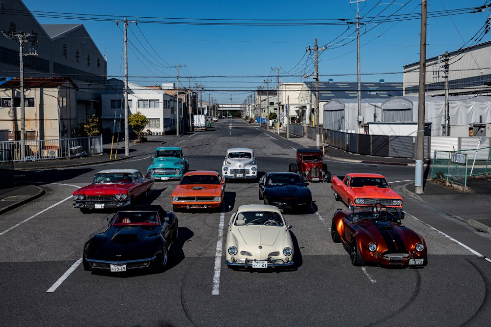 This picture taken on January 31, 2021 shows cars lined up during a gathering by auto enthusiasts in Urayasu, an eastern suburb of Tokyo. — AFP pic