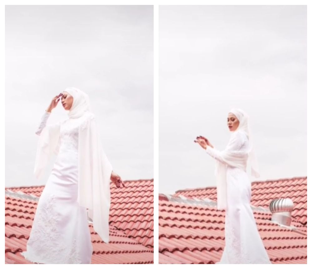 A Malaysian bride has received attention online after taking her photoshoot to the roof. — Screengrab via TikTok/ariffrosly1