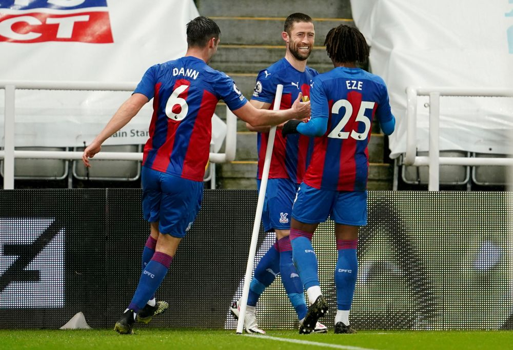 Crystal Palace's Gary Cahill celebrates scoring their second goal against Newcastle United with teammates at St James' Park, Newcastle February 2, 2021. — Reuters pic