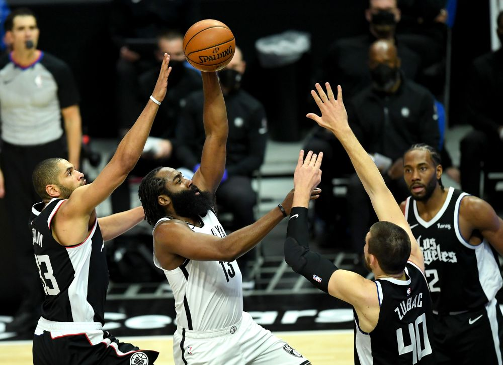 Brooklyn Nets guard James Harden (13) sdrives to the basket in the first half of the game against the Los Angeles Clippers at Staples Centre, California February 21, 2021. — Reuters pic