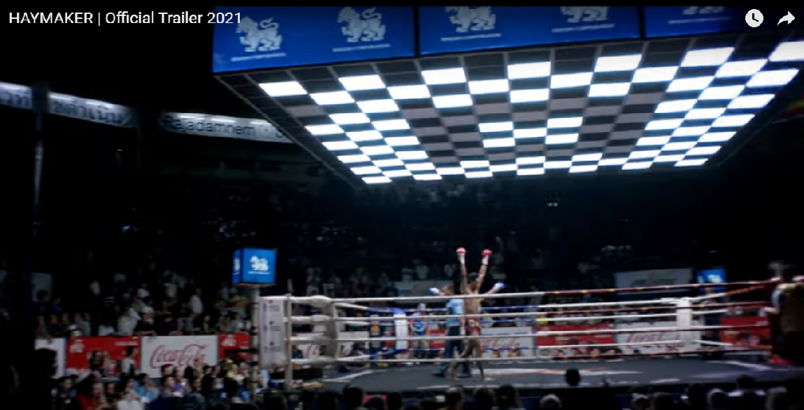 A YouTube screenshot of romantic movie 'Haymaker' about a former Muay Thai fighter named Nick who falls into a relationship with a singer named Nomi after she hires him as her bodyguard.
