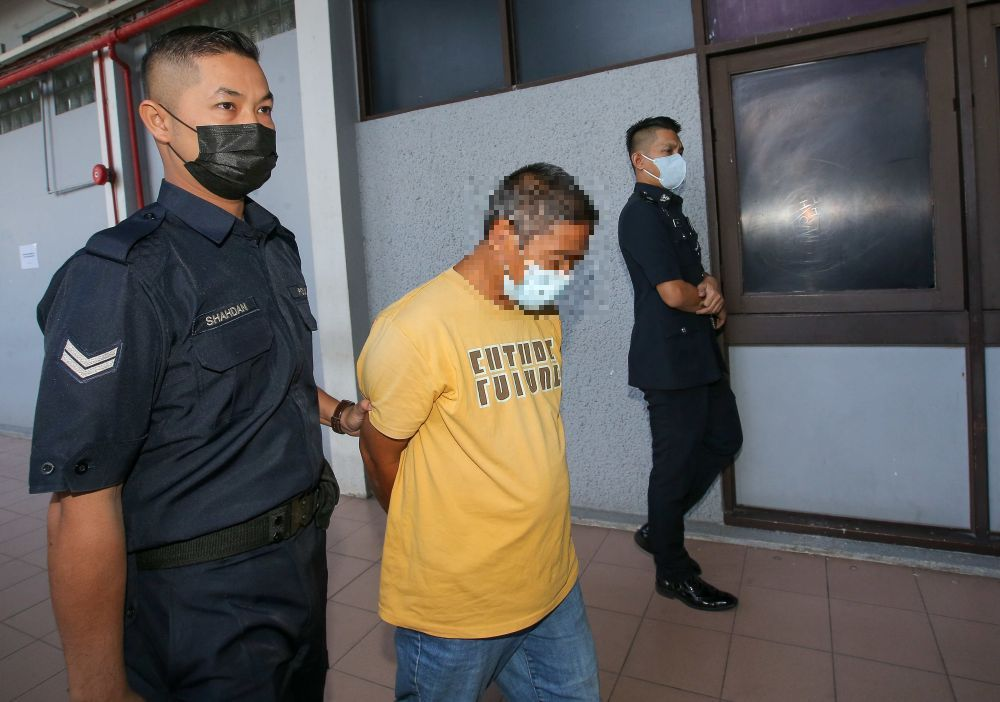 A 49-year-old pasar malam trader claimed trail at the Sessions Court here to allegedly raping his 14-year-step daughter in Kampung Banjar, Ayer Tawar. — Picture by Farhan Najib
