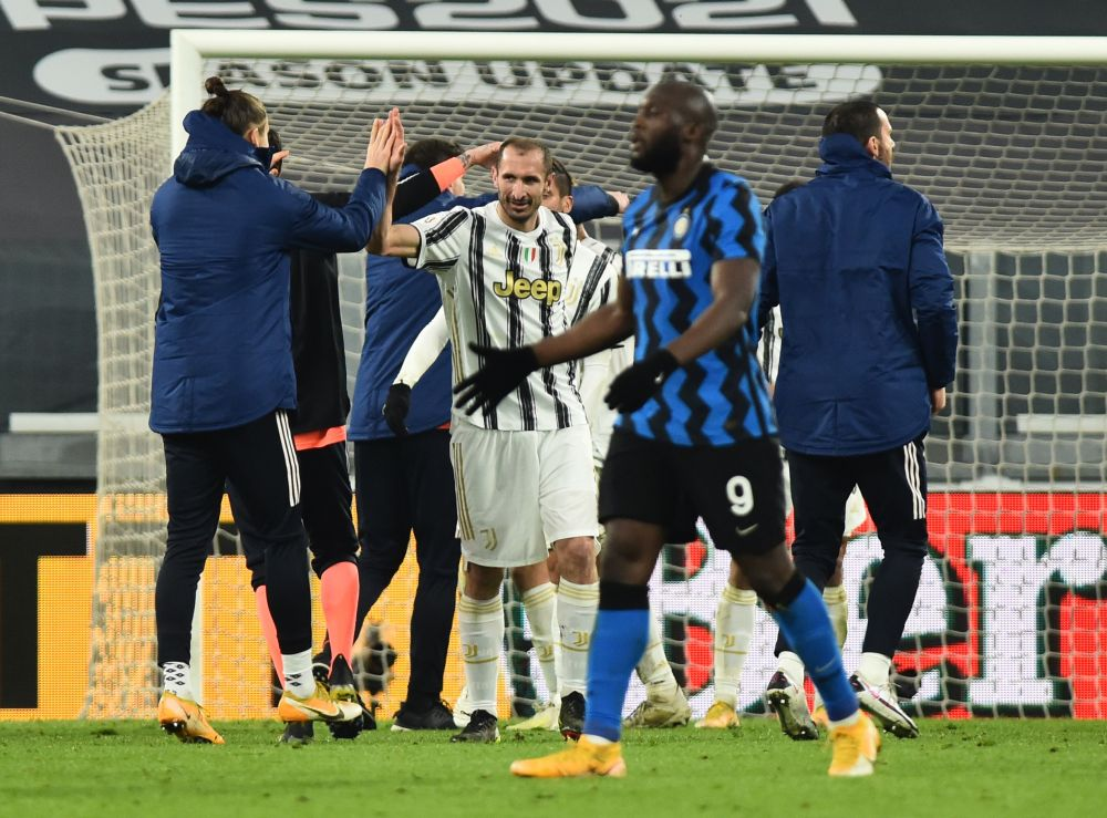 Juventus' Giorgio Chiellini celebrates after the match against Inter Milan at the Allianz Stadium in Turin February 9, 2021. — Reuters pic
