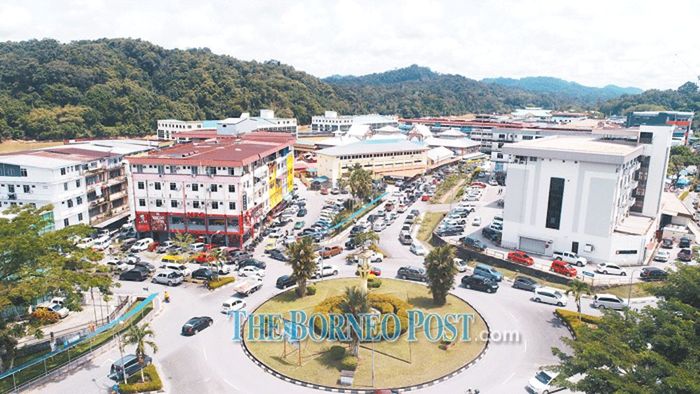 Aerial file photo shows Kapit town's centre. — Borneo Post pic