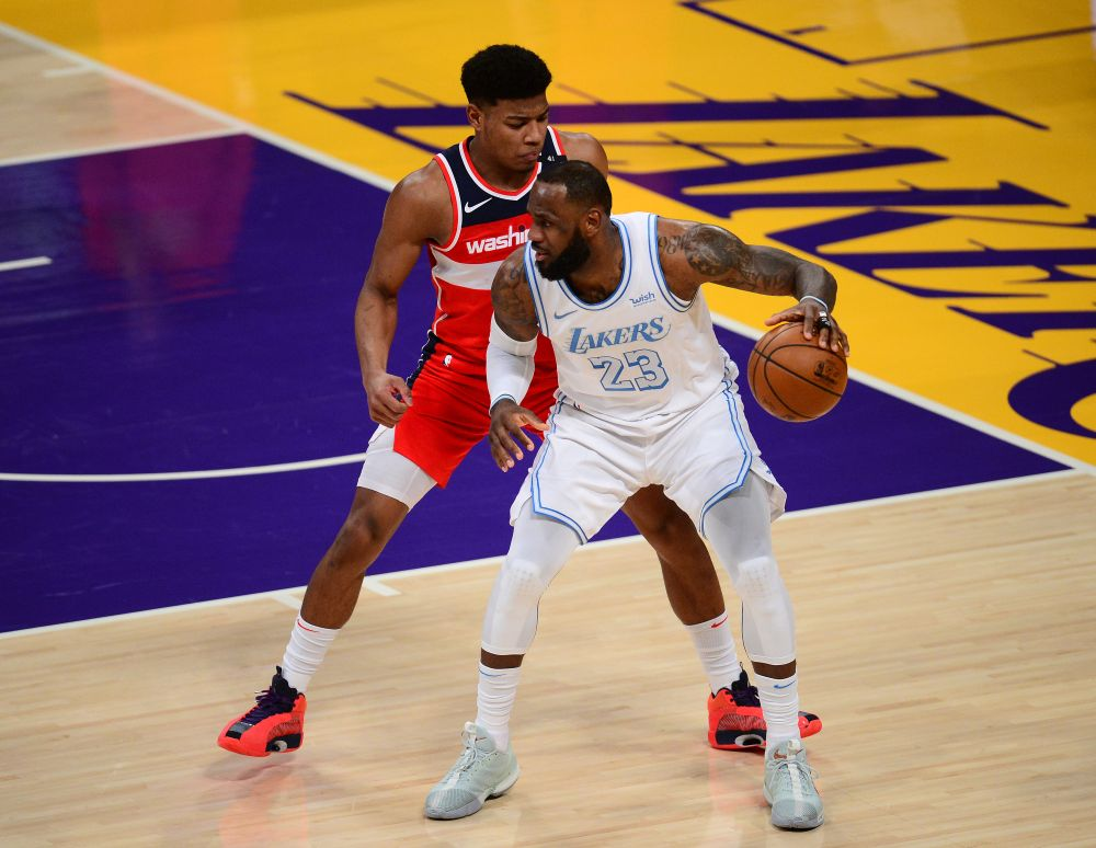 Los Angeles Lakers forward LeBron James (23) moves the ball against Washington Wizards forward Rui Hachimura (8) during the second half at Staples Centre February 22, 2021. — Reuters pic