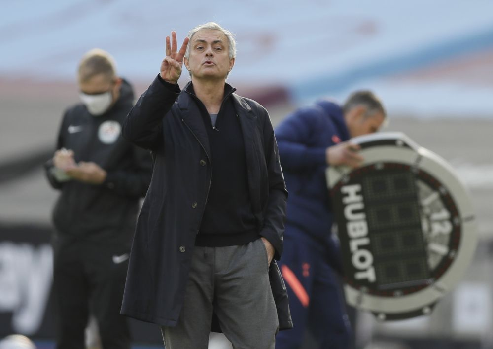 Tottenham Hotspur manager Jose Mourinho gestures to his players during the match against West Ham United at the London Stadium February 21, 2021. — Reuters pic