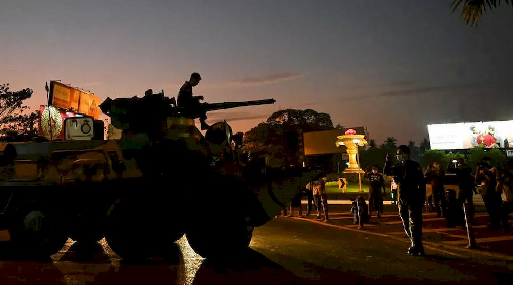 Myanmar soldiers manoeuvre around major cities on armoured vehicles. — AFP pic