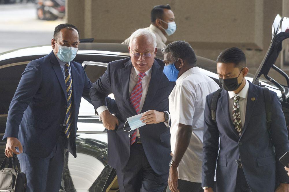Datuk Seri Najib Razak arrives at the Kuala Lumpur High Court on February 11, 2021. — Picture by Miera Zulyana