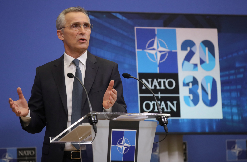 Nato Secretary General Jens Stoltenberg gives a press conference ahead of a Nato Defence minister council at the Alliance headquarters in Brussels, February 15, 2021. — AFP pic