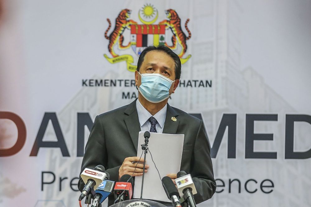 Health director-general Tan Sri Dr Noor Hisham Abdullah said the daily tally takes the total number of Covid-19 infections in the country to 288,229 cases.  — Picture by Hari Anggara