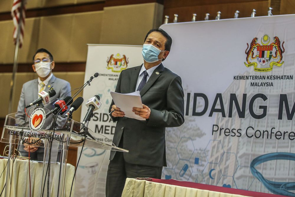 Health director-general Tan Sri Dr Noor Hisham Abdullah speaks during his daily press conference on Covid-19 in Putrajaya February 9, 2020. — Picture by Hari Anggara
