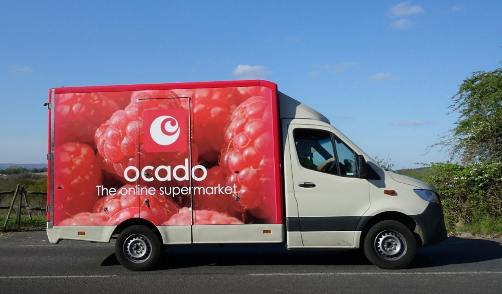 An Ocado delivery van is seen along a country road in East Grinstead, as the spread of the coronavirus disease (COVID-19) continues, April 14, 2020. — Reuters pic