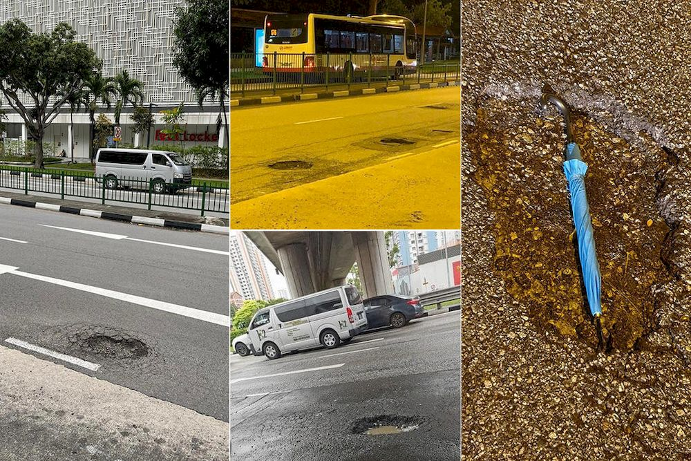 Photographs of potholes at various locations around Singapore posted on social media, including one that shows a full-sized umbrella in one large pothole. — TODAY pic