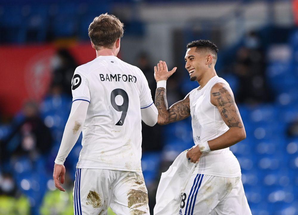 Leeds United's Raphinha celebrates scoring their third goal against Southampton with Patrick Bamford February 23. 2021. — Reuters pic