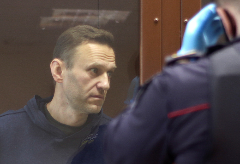 Alexei Navalny, who is accused of slandering a Russian World War Two veteran, stands inside a defendant dock before a court hearing in Moscow February 5, 2021. — Picture by Press Service of Babushkinsky District Court of Moscow via Reuters