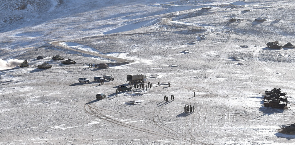 A photo released by Indian Army on February 16, 2021 shows the disengagement process between Indian Army and China's People's Liberation Army from a contested area in the western Himalayas, in Ladakh region. — Picture by Indian Army via Reuters