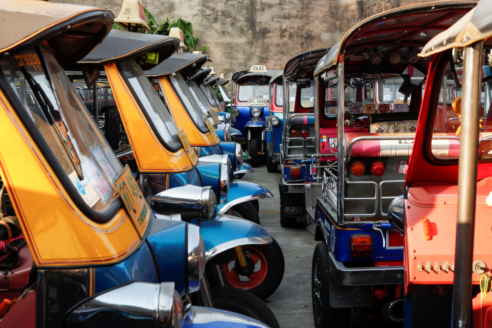 Tuk-tuks that are used to transport tourists around the city are seen idle due to travel bans and border closures from the global Covid-19 outbreak in a parking lot in downtown Bangkok February 3, 2021. — Reuters pic