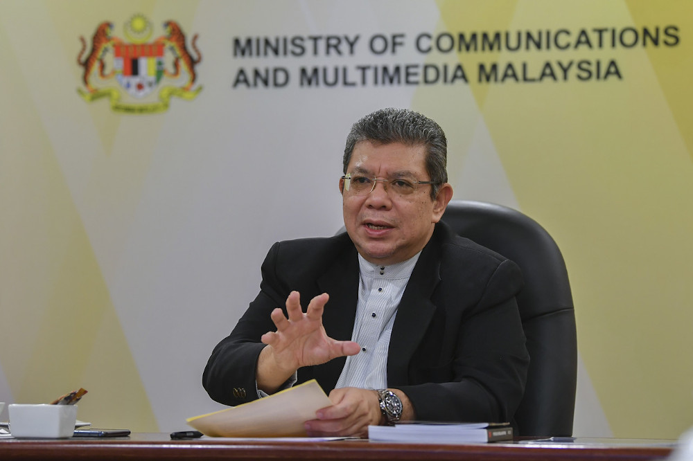 File picture shows Communications and Multimedia Minister Datuk Saifuddin Abdullah during a virtual engagement session with the Federation of National Writers Association (Gapena) at his ministry in Putrajaya, February 5, 2021. — Bernama pic