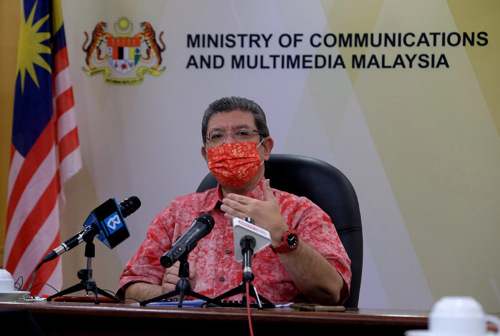 Datuk Saifuddin Abdullah speaks to the media after the virtual handing-out of offer letters to recipients of Phase 2 of the Creative Industry Immediate Economic Action Plan (Pelaksana) fund in Putrajaya February 11, 2021. — Bernama pic