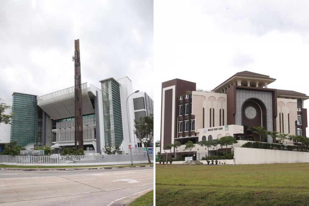 The self-radicalised youth intended to strike two mosques in Singapore, the Assyafaah Mosque (left) along Admiralty Lane and Yusof Ishak Mosque in Woodlands. — TODAY pic