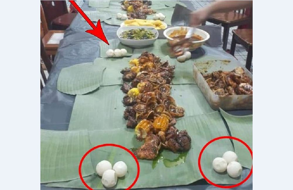 Turtle eggs were served during a Chinese New Year reunion dinner, believed to be in Beluran. — Picture via social media