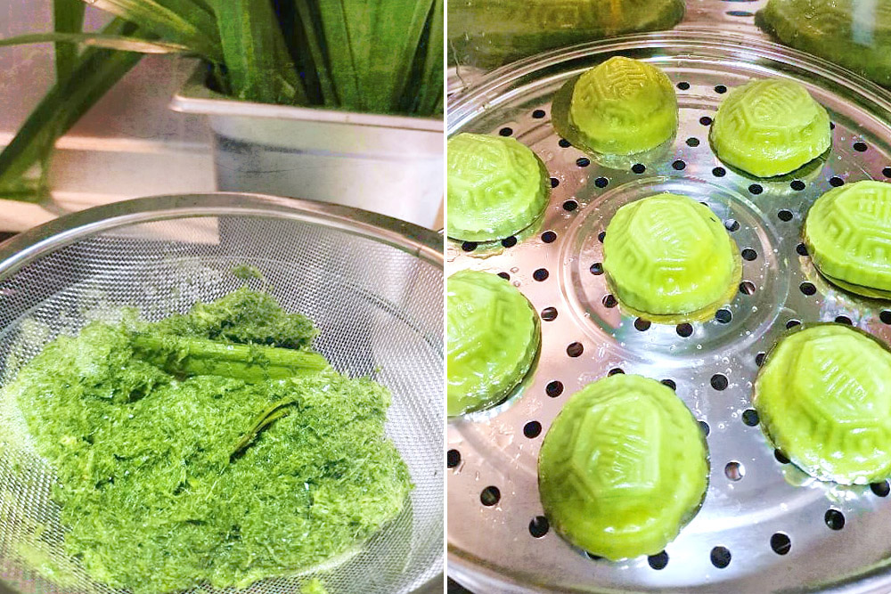 No artificial colouring is used but natural extracts such as that from pandan leaves.