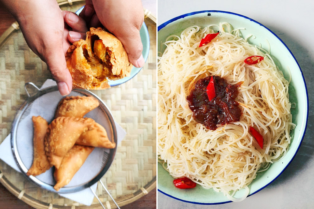 Peranakan favourites: Baba curry puffs (left) and Nyonya 'mee Siam' (right).
