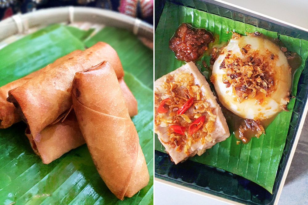 Savoury teatime treats such as fried 'popiah' (left) and 'kuih kahwin' (right) are available too.