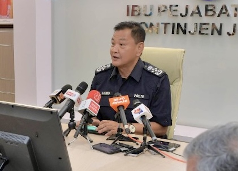 Inspector-General of Police Tan Sri Abdul Hamid Bador urged for calm in light of the court's decision on the Allah issue at Johor police contingent headquarters in Johor Baru March 18, 2021. — Picture by Ben Tan