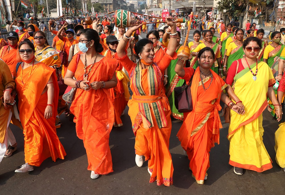 Women attend a protest march against the rise in fuel prices on the occasion of International Women's Day in Kolkata March 8, 2021. — Reuters pic