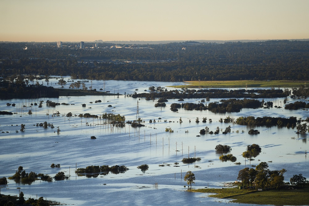Flood affected areas are seen from a helicopter in the Windsor and Pitt Town areas along the Hawkesbury River near Sydney March 24, 2021. — Pool pic via Reuters