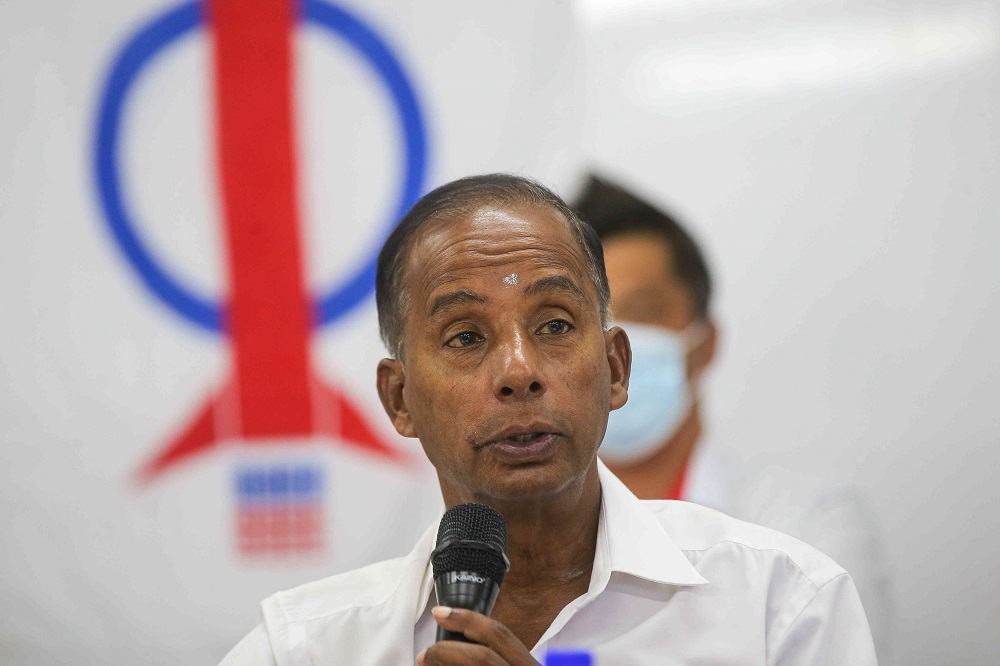 M. Kulasegaran speaks during a press conference in Ipoh March 5, 2021. — Picture by Farhan Najib