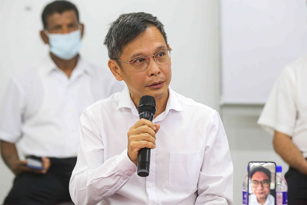 Pokok Assam assemblyman  Leow Thye Yih speaks during a press conference in Ipoh March 5, 2021.