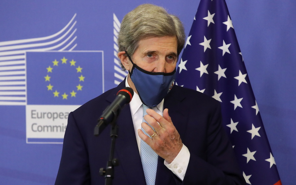 US Special Presidential Envoy for Climate John Kerry prior to meeting with European Commission vice-president in charge for European green deal Frans Timmermans in Brussels, Belgium, March 9, 2021. — Oliver Hoslet/Pool via Reuters