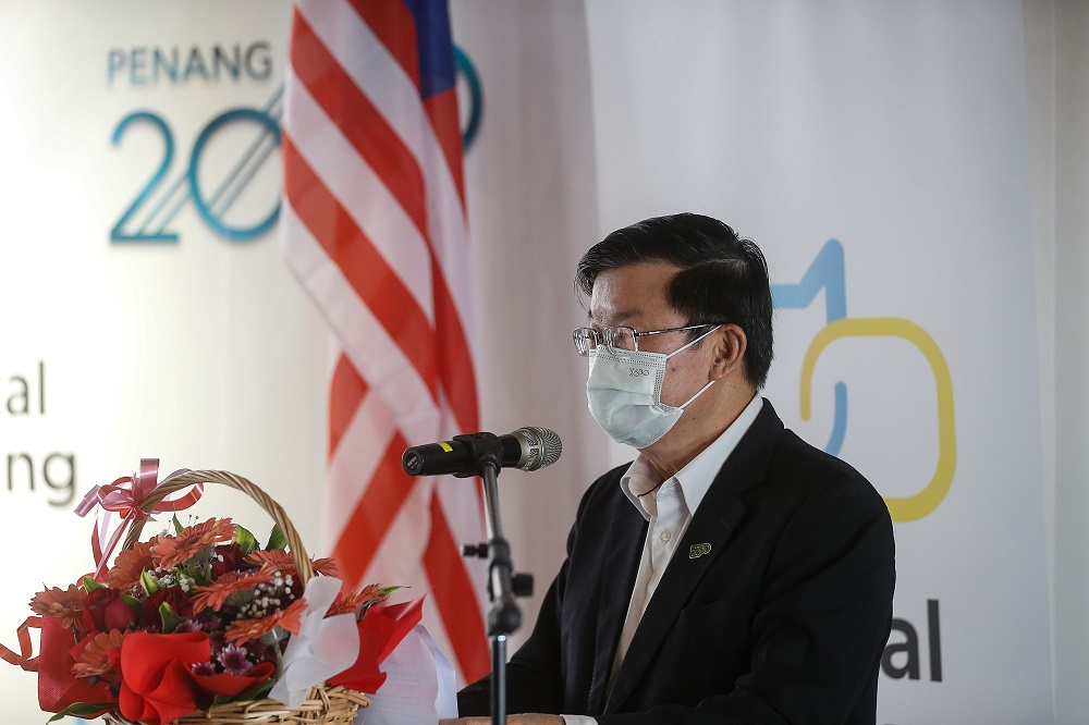 Penang Chief Minister Chow Kon Yeow delivers his speech during the launch of Digital Penang at Wisma Yeap Chor Ee in George Town March 12, 2021. — Picture by Sayuti Zainudin