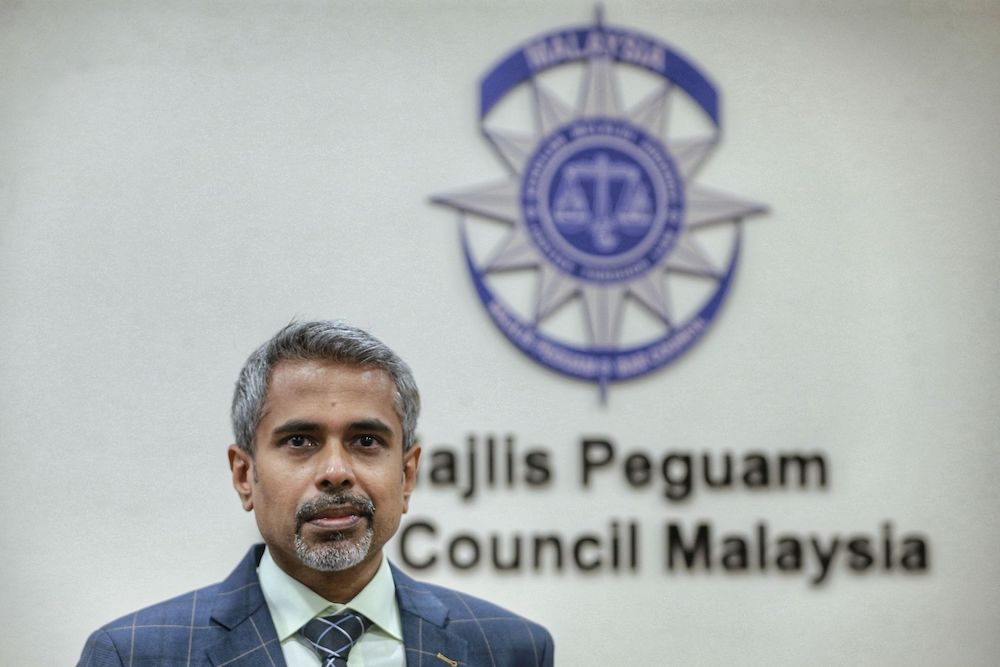 Newly elected Malaysian Bar president AG Kalidas said the bar is treading carefully on the matter of sexual harassment. — Picture by Ahmad Zamzahuri