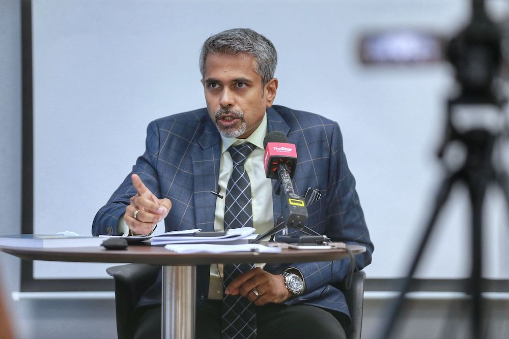 Malaysian Bar president AG Kalidas speaks during a press conference at Malaysia Bar council building March 13,2021. — Picture by Ahmad Zamzahuri