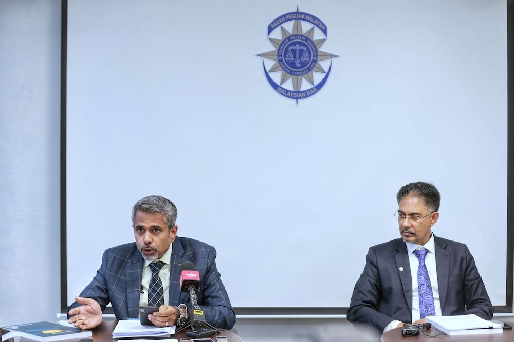 Newly elected Malaysian Bar president AG Kalidas (left) and his Vice President Surindar Singh  during a press conference at Malaysia Bar Council building in Kuala Lumpur March 13,2021. — Picture by Ahmad Zamzahuri