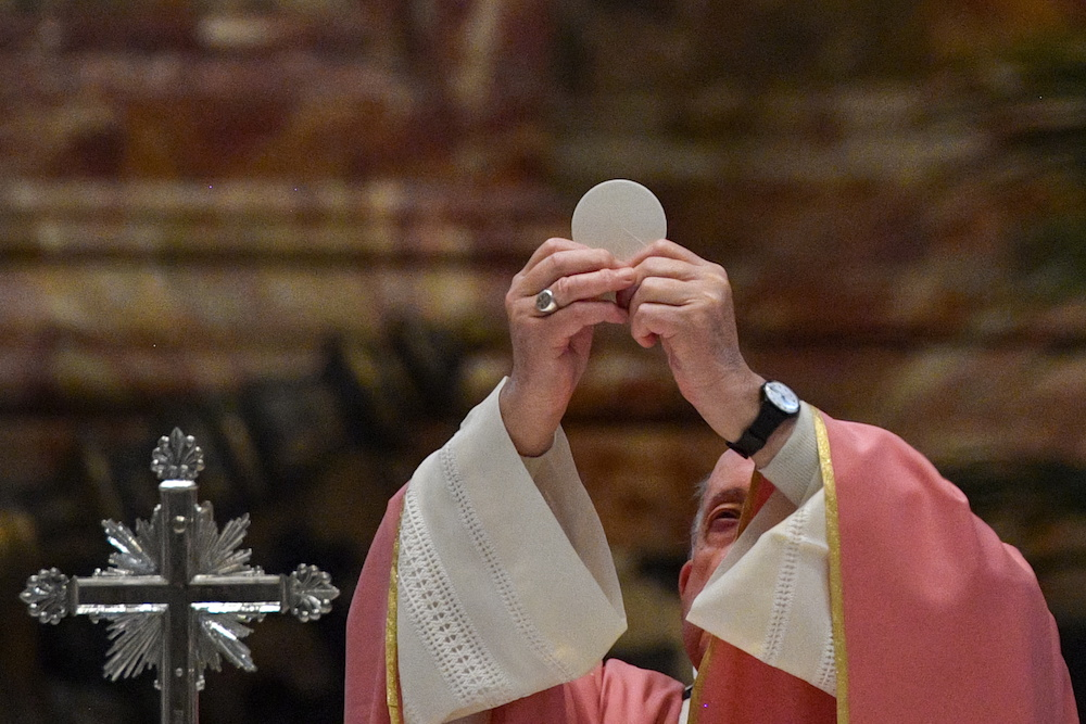 Pope Francis celebrates the Eucharist during a mass to mark 500 years of Christianity in the Philippines, in St. Peter's Basilica at the Vatican, March 14, 2021. — Reuters pic
