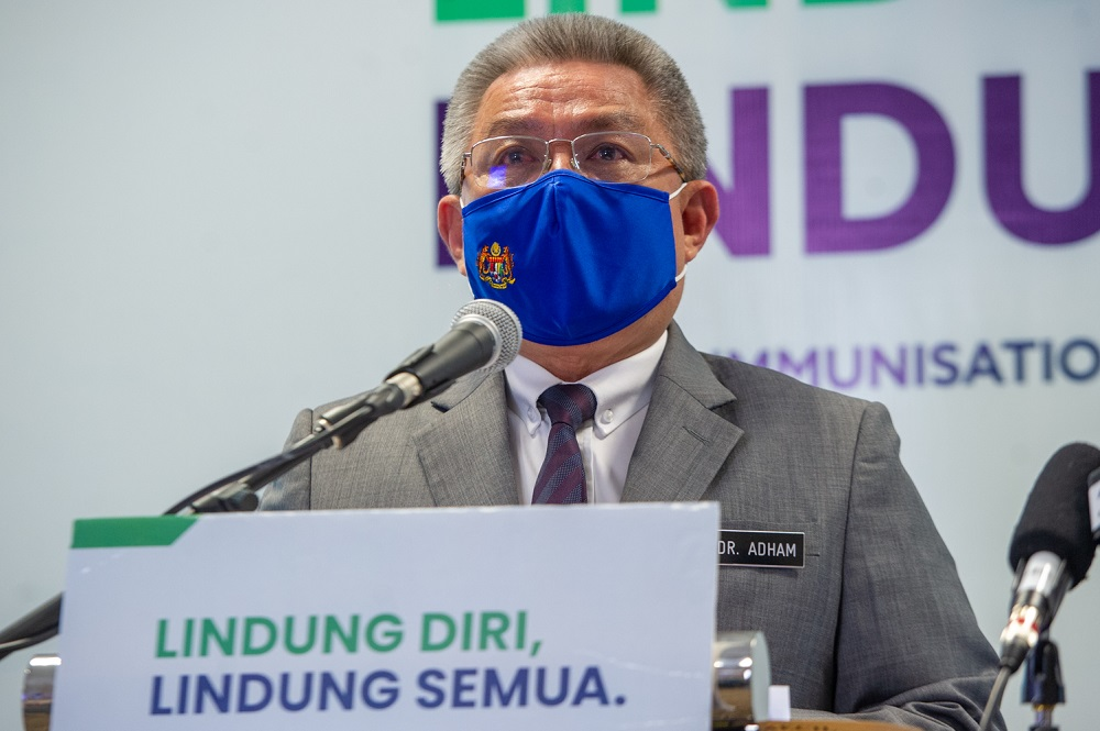 Health Minister Datuk Seri Dr Adham Baba said 10,301,905 individuals had received the first dose, which saw the total number of vaccines administered nationwide so far to 15,071,814 doses. — Picture by Shafwan Zaidon