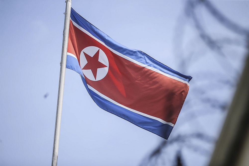 A North Korean flag is pictured at the North Korean embassy in Damansara Heights, Kuala Lumpur March 20, 2021. — Picture by Hari Anggara