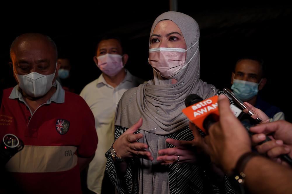 Minister of Women, Family and Community Development Datuk Seri Rina Mohd Harun at a media conference at the site of the Dato Keramat Market March 18, 2021. — Bernama pic