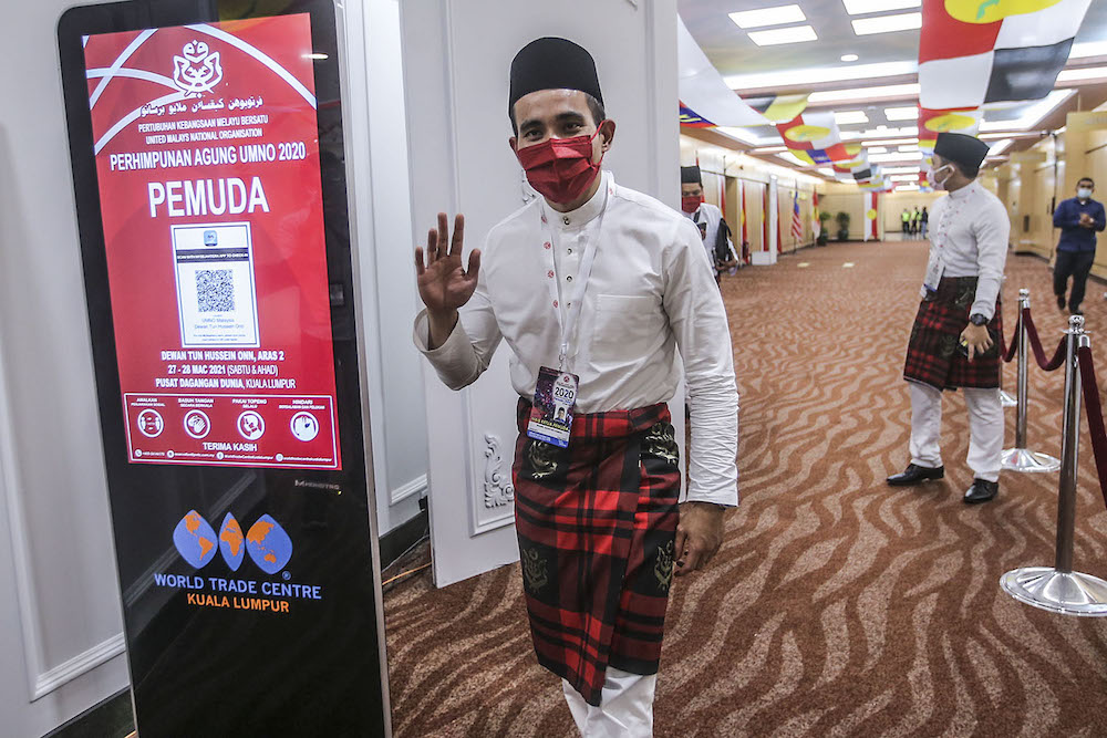 Umno information chief Shahril Hamdan is pictured at the 2020 Umno annual general meeting in Kuala Lumpur March 27, 2021. — Photo by Hari Anggara.