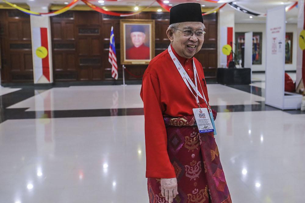 Gua Musang MP Tan Sri Tengku Razaleigh Tengku Mohd Hamzah is pictured at Umno's general assembly in Kuala Lumpur March 28, 2021. ― Picture by Hari Anggara.