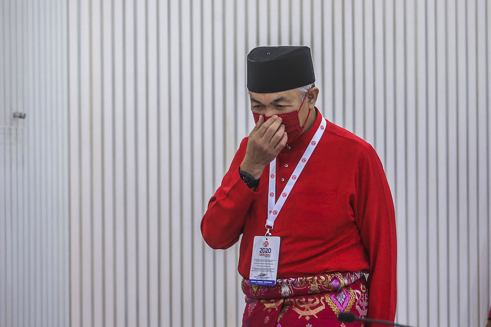 Umno president Datuk Seri Ahmad Zahid Hamidi said besides the RCI call, the party also called on the government to continue using the 'Malaysian Family' brand and refer itself as the Malaysian Government, and no longer as the Perikatan Nasional government. ― Picture by Hari Anggara