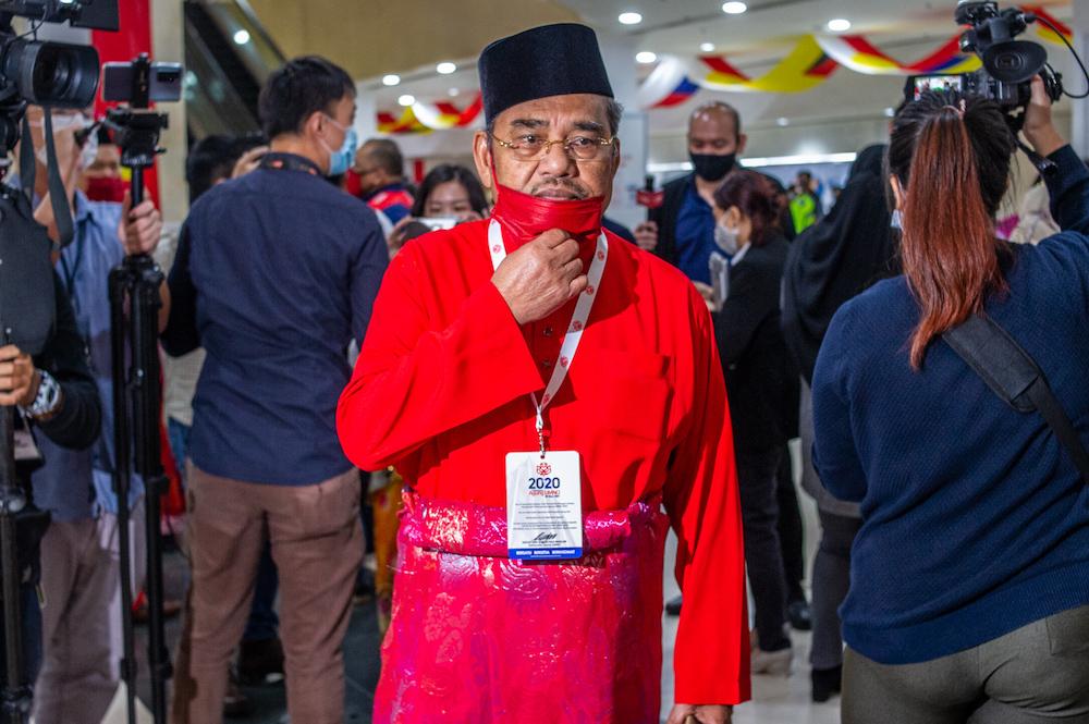 Umno supreme council member, Datuk Seri Tajuddin Abdul Rahman is pictured at the 2020 Umno annual general meeting in Kuala Lumpur March 28, 2021. ― Picture by Shafwan Zaidon