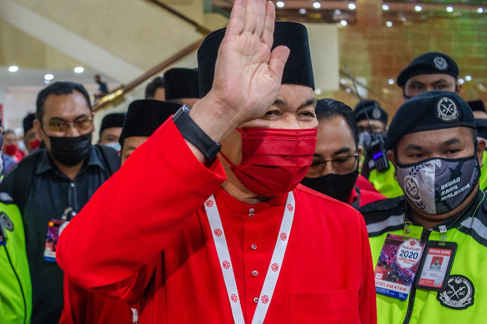 Umno president Datuk Seri Zahid Hamidi is pictured at the 2020 Umno annual general meeting in Kuala Lumpur on March 28, 2021. ― Picture by Shafwan Zaidon
